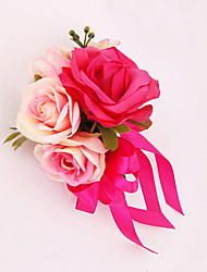 Wedding Flowers Free-form Roses Boutonnieres Wedding Party/ Evening Pink / Fuchsia Satin