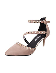 Women's Heels Club Shoes PU Spring Summer Dress Party & Evening Club Shoes Beading Buckle Stiletto Heel Black Khaki Under 1in