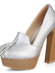 Damen High Heels Club-Schuhe Kunstleder Frühling Sommer Party & Festivität Kleid Club-Schuhe Quaste Blockabsatz Gold Silber Rot 10 - 12 cm
