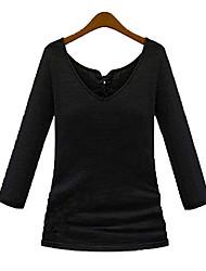 Outono novo slim apertado trecho preto fechar moda sexy v-pescoço de mangas compridas t-shirt