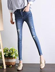 знак 2017 весной нового женских ног высокой талии колена отверстия джинсы брюки большого размер колготки