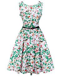 Ebay aliexpress hepburn style rétro modèles d'explosion était taille mince mis sur une grande robe imprimée avec ceinture
