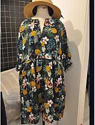 Damen Blumen Einfach Ausgehen T-shirt,V-Ausschnitt Langarm Andere