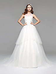 A-Line Princess Illusion Neckline Floor Length Lace Tulle Wedding Dress with Lace by LAN TING BRIDE®