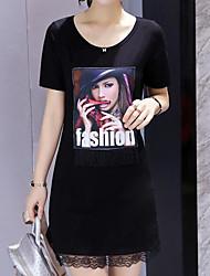 Signer la version coréenne était mince en vrac rond à manches courtes en coton à manches courtes en mousseline de soie en coton t-shirt