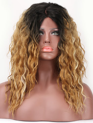 Hot Sale! Ombre Highlights Color Loose Curly L Part Lace  Heat Reasitant Fiber Hair Synthetic Wig  For Women