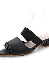 Damen-Sandalen-Kleid-Mikrofaser-Blockabsatz-Komfort-Weiß Schwarz