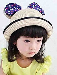Girl's Lovely Fashionable Jade Dot Big Ears Butterfly Knot Water Basin Straw Hat Shading