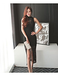 Women's Asymmetrical Shopping lace vest dress package hip
