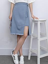 2017 летней корейская версия ложная два с половиной слова бахромы юбки джинсовых