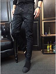 Masculino Simples Cintura Média Inelástico Jeans Chinos Calças,Delgado Cor Única