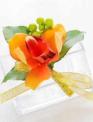 Wedding Flowers Free-form Lilies Boutonnieres Wedding Party/ Evening Yellow/Orange Satin