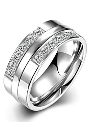 Concise Silver Color Titanium Steel Clear Crystal Band Wedding Ring Jewellery for Women Accessiories