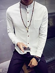 Men's Casual/Daily Simple Shirt,Solid Shirt Collar Long Sleeve Nylon
