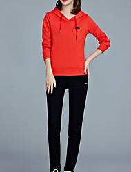 Feminino activewear Set Casual Esportivo Activo Simples Sólido Colarinho Chinês Algodão Sem Elasticidade Manga Longa Primavera Outono