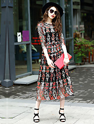 Women's Going out Casual/Daily Party A Line Dress,Embroidered Round Neck Midi ½ Length Sleeve Polyester Spring Summer Low Rise Inelastic