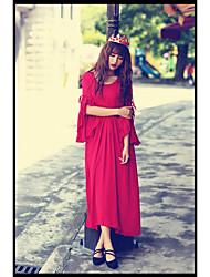 o novo de uma peça vestido de pregas mangas trompete cintura bonita retro saia vestido fino