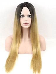 Long Straight Wig Black To Blonde Color Synthetic Wigs Heat Resistant Full Hair Cosplay Wigs
