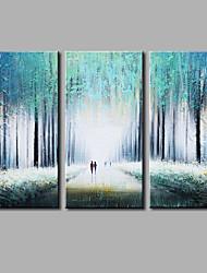 Pintada a mano Abstracto Horizontal,Modern Tres Paneles Lienzos Pintura al óleo pintada a colgar For Decoración hogareña