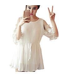 Women's Going out Casual/Daily Simple Spring Summer Blouse,Solid Round Neck ½ Length Sleeve Others Thin Medium