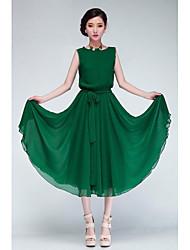 vert / noir mousseline robe des femmes, manches courtes avec ceinture