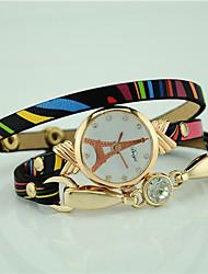 Mulheres Relógio de Moda Bracele Relógio Quartzo Couro Banda Torre Eiffel Preta