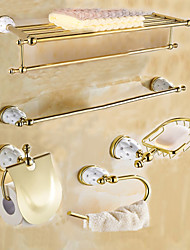 Gold Color Brass Contemporary China with DiamoAntique Brass 5PC Bathroom Accessory Set Towel Shelf Towel Bar Towel Ring Paper Holder and Brush Holder