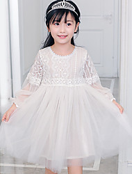Ball Gown Short / Mini Flower Girl Dress - Cotton Lace Tulle Jewel with Embroidery