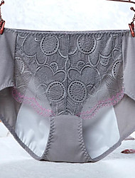 Lace Solid Seamless PantiesCotton