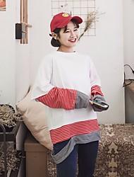 Tee-shirt Femme,Rayé Sortie simple Manches Longues Col Arrondi Coton