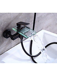 Contemporary Centerset Waterfall with  Ceramic Valve Single Handle Two Holes for  Oil-rubbed Bronze , Bathtub Faucet