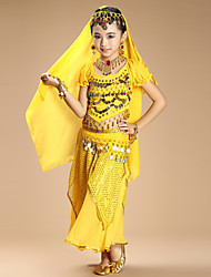 Belly Dance Outfits Kid's Performance Chiffon Spandex Coins Sequins 4 Pieces Short Sleeve Dance Costumes Natural Top / Veil / Hip Scarf / Skirt