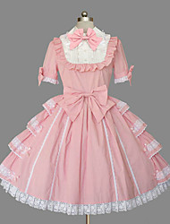 One-Piece/Dress Gothic Lolita Lace-up Princess Cosplay Lolita Dress Solid Bowknot Cap Short Sleeve Short / Mini Tuxedo Legguards For