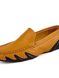Для мужчин обувь Кожа Весна Осень Удобная обувь Обувь для дайвинга Мокасины и Свитер Назначение Повседневные Черный Коричневый Синий