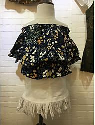 Print Blouse,Cotton Summer Short Sleeve