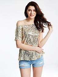 Women's Off The Shoulder|Sequin  Short Sleeve Seductive Off-Shoulder Glistening Sequins Top T Shirts