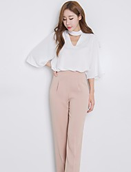Women's Casual/Daily Simple Blouse,Solid V Neck ¾ Sleeve Silk