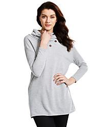 T-shirt Da donna Per uscire / Casual Semplice / Moda città Primavera / Autunno,Tinta unita Asimmetrico Poliestere Grigio Manica lunga