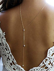 Women's Sexy Back Necklace Imitation Pearl Pendant Necklaces Line Alloy Unique Design Silver Gold Body Chain Jewelry For Wedding Party