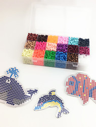 Approx 5400PCS 18 Color 5MM Fuse Beads Set with 3PCS Random Mixed Shape Template Clear Pegboard Sea Horse Dolphin Clownfish DIY Jigsaw(Set B 18*300PCS
