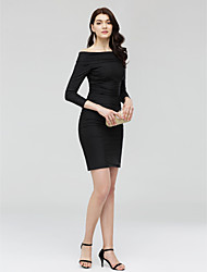 2017 Cocktail Party Dress - Little Black Dress Sheath / Column Off-the-shoulder Short / Mini Jersey with Ruching
