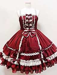 One-Piece/Dress Sweet Lolita Princess Cosplay Lolita Dress Solid Sleeveless Knee-length Dress For FRP Cotton