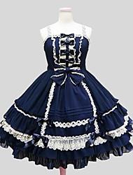 Uma-Peça/Vestidos Doce Princesa Cosplay Vestidos Lolita Cor Única Longuete Vestido Anágua Para Chifon Veludo