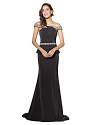 Sereia / trompete off-the-shoulder tribunal trem jersey vestido formal com beading
