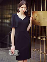 Damen Etuikleid Hülle Das kleine Schwarze Kleid-Lässig/Alltäglich Arbeit Party/Cocktail Retro Street Schick Anspruchsvoll Solide
