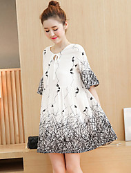 Maternity Summer Wear Fashionable Sweet Fashion  Beep Demodex In Sleeve Round Collar Bowknot Printing  Leisure Pregnant Women Dress