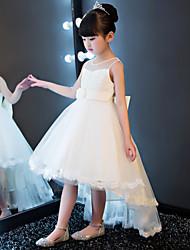 Princesse asymétrique robe de fille fleur - dentelle tulle cravate sans manches avec perles