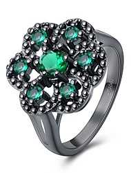 Ring Crystal AAA Cubic ZirconiaBasic Unique Design Flower Style Rhinestone Heart Geometric Friendship Turkish Gothic Double Sided Cute