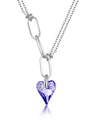 Women's Pendant Necklaces Crystal Chrome Love Heart Euramerican Fashion Personalized Light Blue Blushing Pink Red Yellow Purple Jewelry