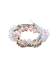 Femme Bracelets Bijoux Amitié Mode Alliage Forme Ovale Forme Ronde Bleu Rose Bijoux Pour Soirée Anniversaire 1pc